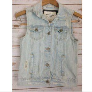 Abercrombie & Fitch Distressed Cotton Jean Vest